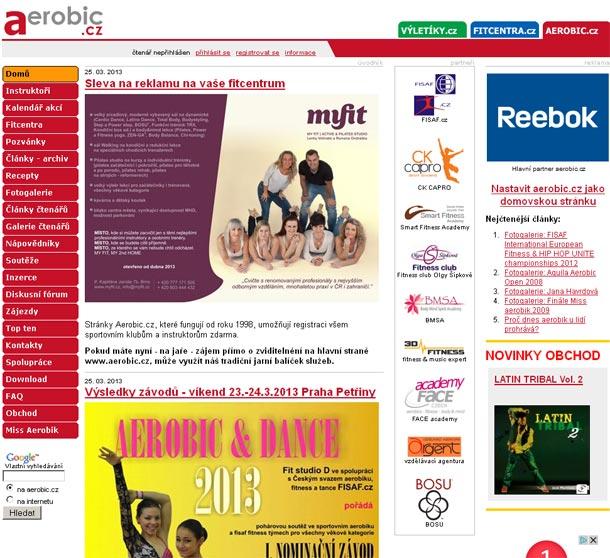 Stránky Aerobic.cz, které fungují od roku 1998, umožňují registraci všem sportovním klubům a instruktorům zdarma.
