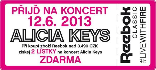 Nakupte zboží Reebok v A3 SPORT za 3.490 Kč a získejte dvě vstupenky na koncert Alicia Keys ZDARMA!