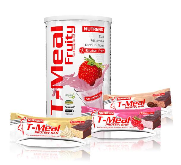 T-meal fruity + 3x T-meal protein bar - instantní koktejl jako kvalitní a vyvážená svačina během dne + 3x proteinové tyčinky s nízkým obsahem cukru.